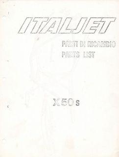Circa 1976 Italjet X50S mini bike parts book COPY