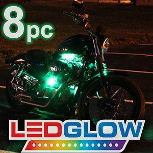 8pc GREEN LED FLEXIBLE MOTORCYCLE neon LIGHTING LIGHT KIT