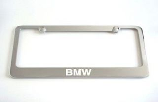 BMW 528 535 Chrome Metal License Plate Frame +Screw Caps Brand New