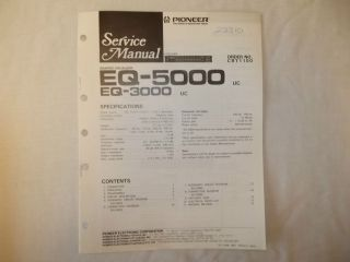 Pioneer EQ  5000 Graphic Equalizer Car Stereo Original Service Manual