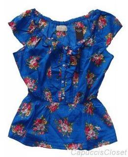Abercrombie Womens Shirt MELANIE Top Peasant Floral Print Blue Sz L