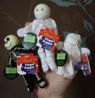 New – Glow in the Dark Finger Puppets Halloween – Ghost, Mummy