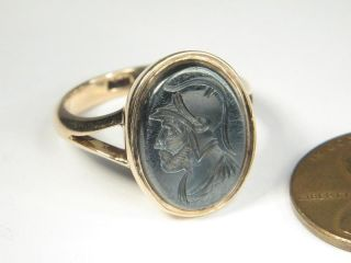 ANTIQUE ENGLISH 9K GOLD AGATE INTAGLIO SEAL RING 1880