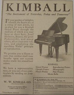 1923 Kimball Grand Upright Player Pianos Print Ad