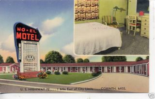 CORINTH MISSISSIPPI ALAMO MOTEL INTERIOR POSTCARD ROOM