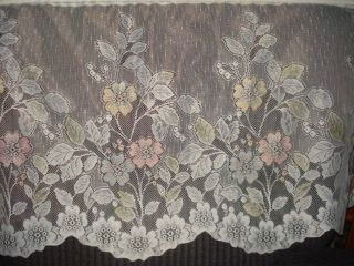 VINTAGE WHITE LACE NET SCALLOP FLORAL CURTAINS 2 EXTRA WIDE PANELS