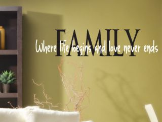 Wall Decal Family Love Quote *Choose Color* Home Decor Art Lettering