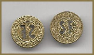 one) TRANSIT TOKEN CA 760 F SAN FRANCISCO MUNICIPAL RAILWAY TOKEN