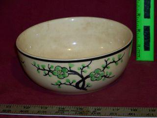 Antique Moriyama Art pottery bowl, dish, cherry trees, Japan