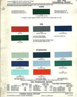 1956 MACK/REO/STUDEBAKER TRUCK Color Paint Chip Sample Brochure/Chart