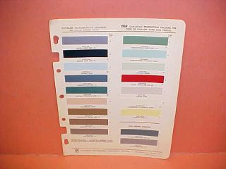 1960 FORD CAR TRUCK PAINT CHIPS COLOR CHART CANADA CANADIAN 60