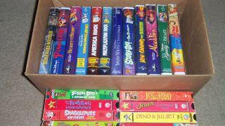 22 CHILDRENS VHS LOT   DISNEY   SCOOBY DOO   FLINTSTONES   ALVIN & THE
