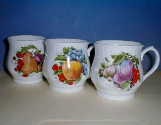 ENGLAND MILTON BONE CHINA MUGS (3) FRUITS & BERRIES PATTERN