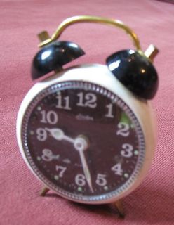 Vintage Linden Alarm Clock Mini Small Metal Black & White 3 Japan