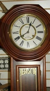 REGULATOR 31 DAY WALL CLOCK, KEY WIND WITH CHIME, WOOD, KOREA