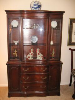 Beautiful Antique Mahogany China Cabinet with Double Serpentine Front