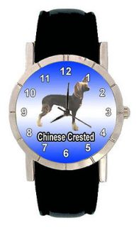 Chinese Crested Dog Men Lady Genuine Leather Quartz Movement Wrist