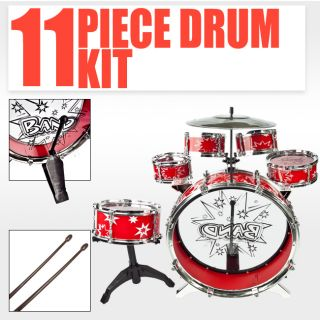 Kids Drum Set Red Boy Girl Musical Instrument Toy Music Band Children