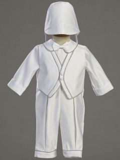 Baby Boys White Christening Baptism Satin Outfit w/Silver Trim 3M 6M