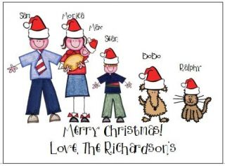 Christmas Stick Figure People Note Cards Super Cute