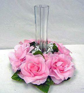 Candle Rings Lot ~ Rose Petal PINK ~ Wedding Silk Flowers