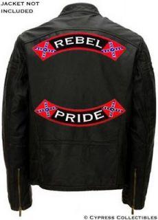 REBEL PRIDE BIKER PATCH Confederate Flag 13 INCH ROCKER embroidered