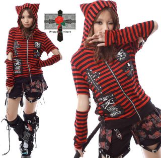 Unisex Visual Kei Rock Kitten Red Striped Cross Skull Gothic Tail EMO