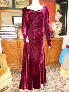 PYRAMID COLLECTION womens long wine velvet dress gown sz S NWOT