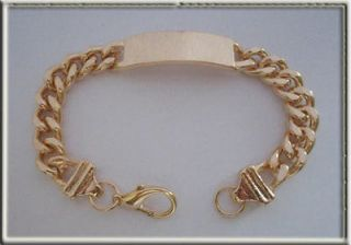 23cm / 9 Long Chunky Mens Gold ID Bracelet, Comes in Gift Box