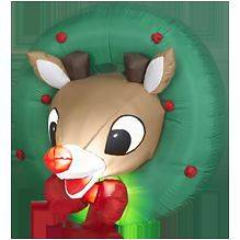 RUDOLPH RED NOSED REINDEER CHRISTMAS INFLATABLE WREATH