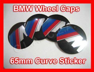 4x BMW ///M Wheel Center Cap Sticker 65mm (Curve)