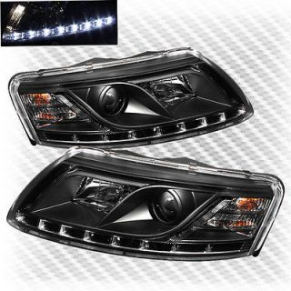 2005 2008 Audi A6 R8 DRL LED Projector Black Headlights Head Lights