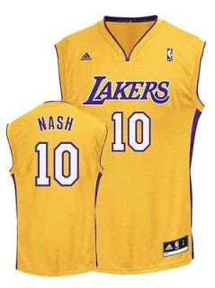 Adidas Steve Nash #10 LA Los Angeles Lakers NBA Gold Yellow Home