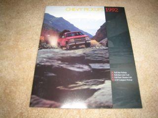 1992 Chevy S 10 C/K pickup 1500 2500 454 SS Silverado sales brochure
