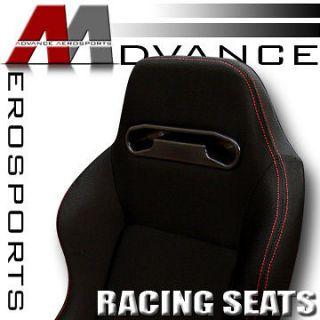 2x T R Type JDM Blk Cloth & Red Stitch Sport Racing Bucket Seats