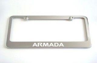 Nissan Armada Chrome Metal License Plate Frame +Screw Caps Brand New