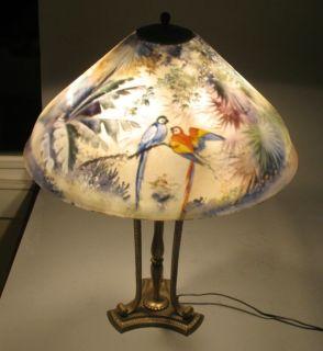 Fabulous Signed Pairpoint Reverse Painted Lamp w/ Parrots Antique