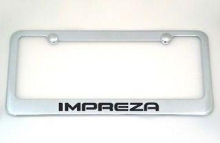 Brand New Subaru Impreza Chrome Metal License Plate Frame +Caps