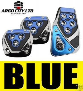 BLUE CHROME CAR FOOT COVERS PEDALS VW BEETLE BORA LUPO