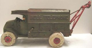 Classic Antique Cast Iron Toy Bell Telephone Truck w Boom Hubley Mack