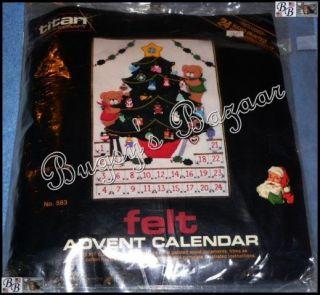 Vtg Titan TEDDY'S TREE Advent Calendar Felt Christmas Kit   Wooden