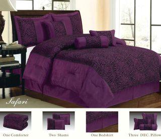 /King Size Zebra Comforter Set Purple/Black Animal Print Bed In a Bag