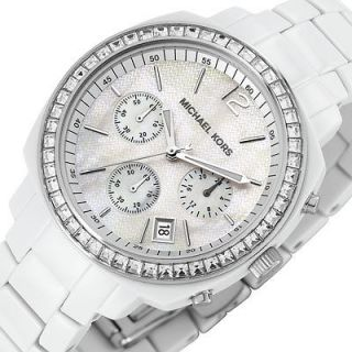KORS Chronograph Ladies Analog Watch White Plastic Bracelet Crystals