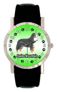 Swiss Mountain Dog Men Lady Genuine Leather Quartz Wrist Watch SA1055