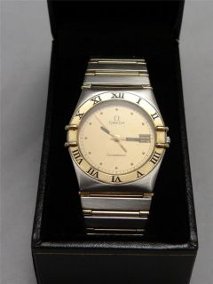 Omega Constellation Mens Watch with 18 KT Solid Gold Bezel & Full Bar