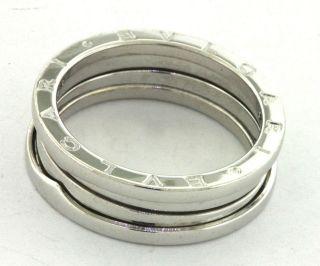 BULGARI 18K WHITE GOLD ELEGANT HIGH FASHION MENS WEDDING BAND RING