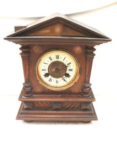 Junghans Victorian German Architectural Oak Case Striking Mantle Clock
