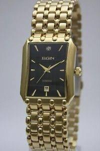New Elgin Men Diamond Gold Watch + Money Clip 28mm x 34mm FG312ST