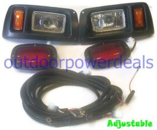 Club Car DS Golf Cart HEAD LIGHT KIT with LED Taillights Adjustable