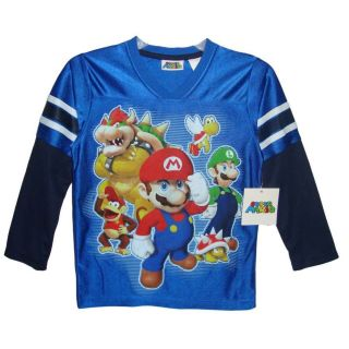 Boy Super Mario Luigi Nintendo Wii Characters Shiny Blue Jersey Shirt